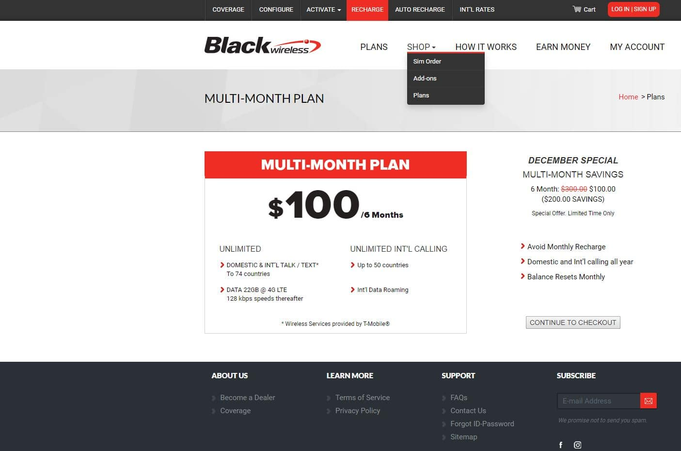 Black wireless, 6 months plan - Unlimited talk/text/data, 22 GB LTE data per month for $100