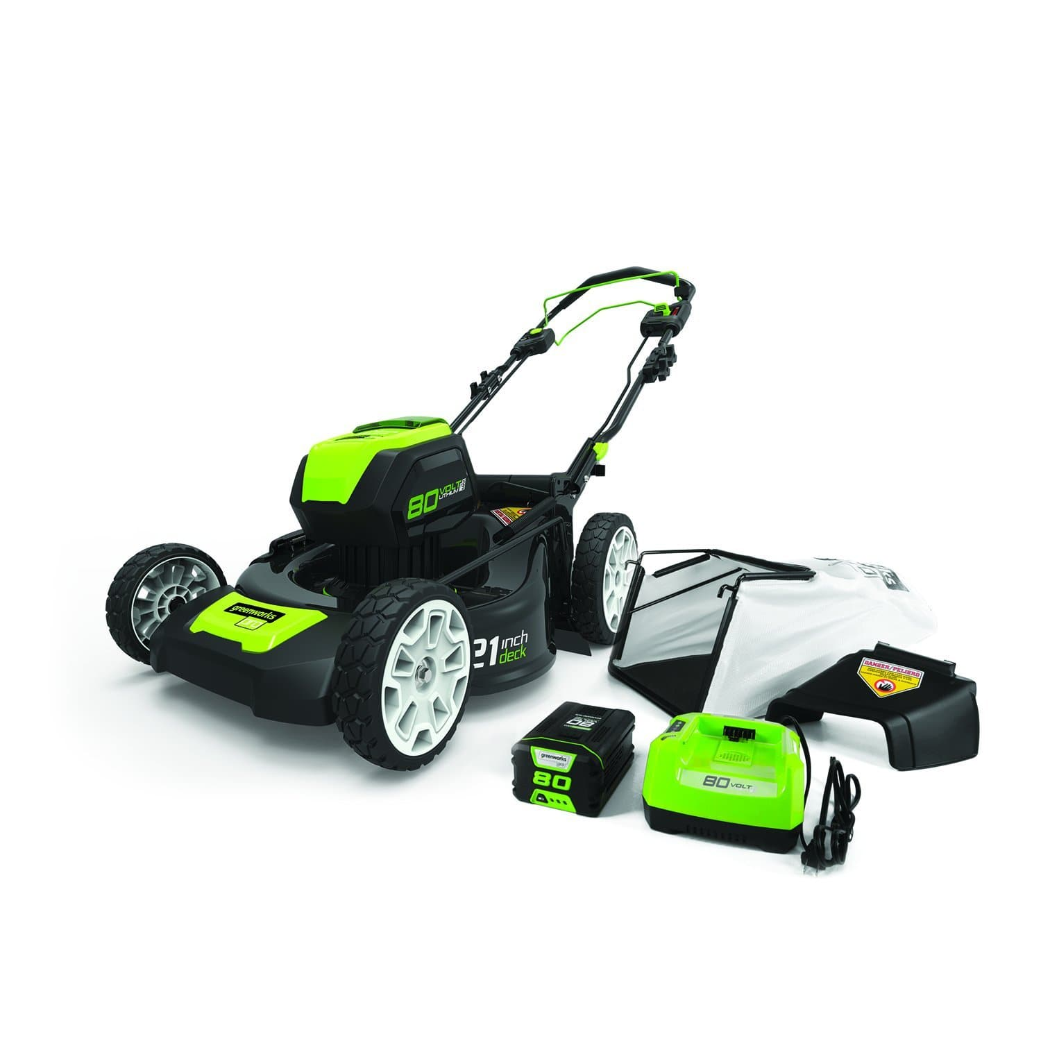 "GreenWorks Pro 80V 21"" Self Propelled Cordless Lawn Mower w Battery"