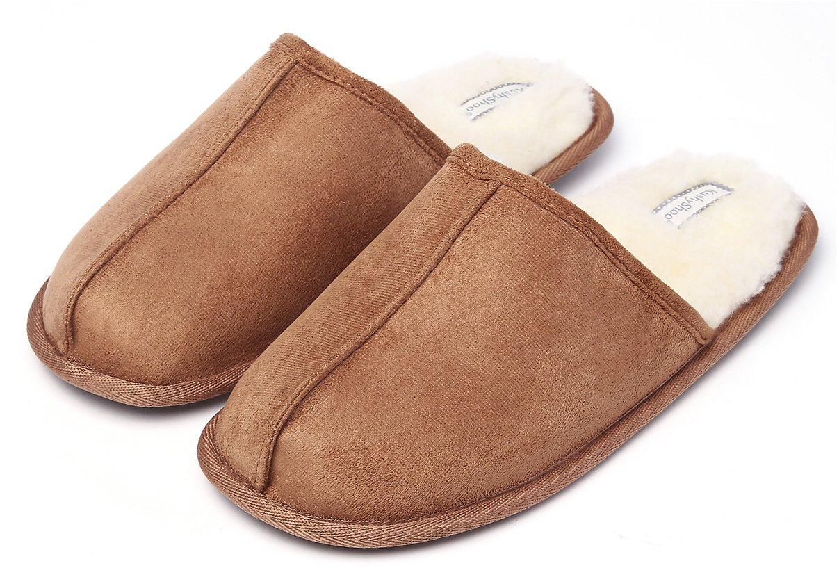 396d97862850 KushyShoo Men s Slip-On Indoor Outdoor Faux Fur Lining Slippers  12.99