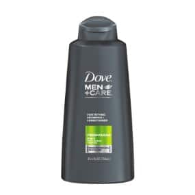 Dove Men+Care 2 in 1 Shampoo and Conditioner, Fresh and Clean, 25.4 Fluid Ounce (Pack of 4) - Total before tax: $14.02 (w/ S&S 5x)