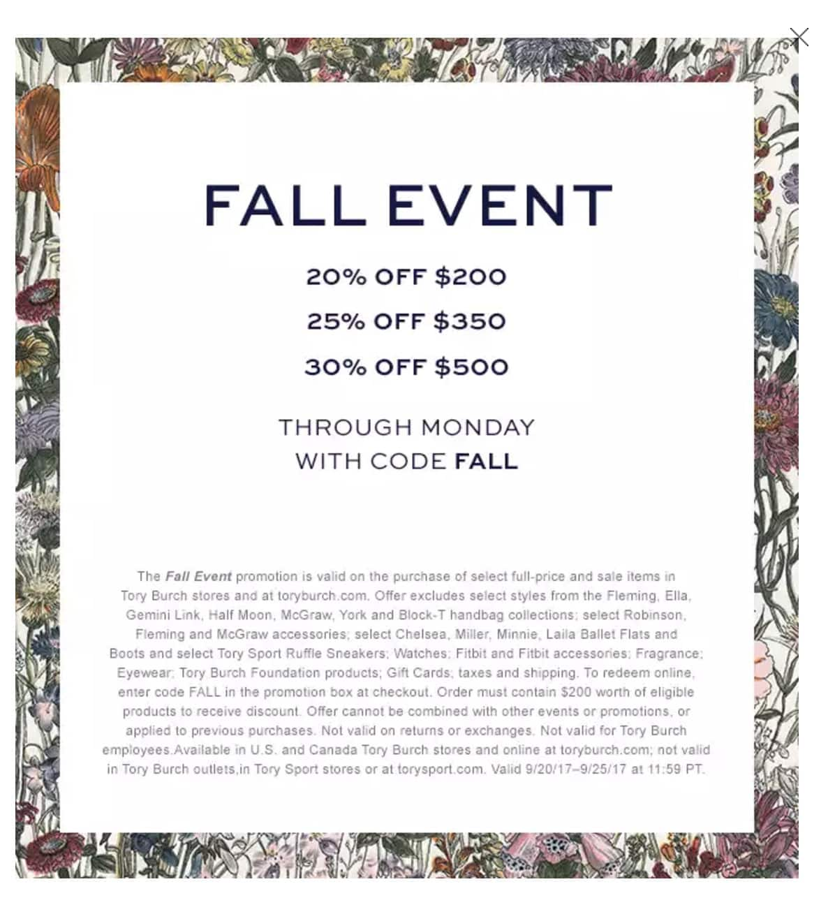 Tory Burch Fall Sale - 20% OFF $200 · 25% OFF $350 · 30% OFF $500