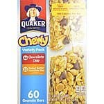 Quaker Chewy Variety Pack 60 Granola Bars (Peanut Butter and Chocolate Chip), 50.7OZ (Pack of 2) for $29.99 AC + Free Shipping @ Amazon.com