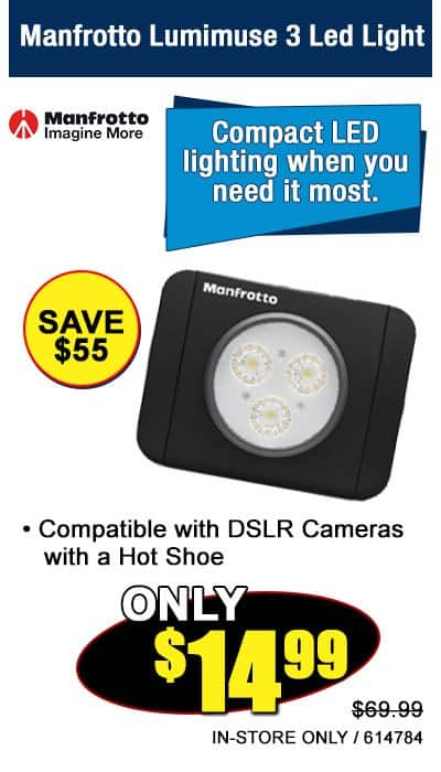 Manfrotto Lumimuse 3 LED Camera Light $15 and 8 LED $30 In Store At Microcenter $14.99