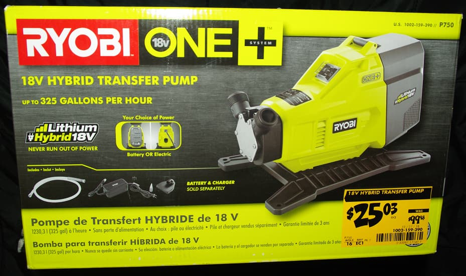 Ryobi P750 Transfer Pump Home Depot Clearance $25.03 YMMV