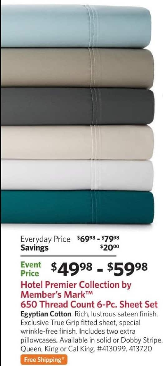 Sam's Club Black Friday: Hotel Premier Collection By Member's Mark 650 Thread Count 6-Pc Sheet Set + FS for $49.98