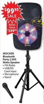 Freds Black Friday: Irocker Bluetooth Party 1500 Watts Speaker for $99.95
