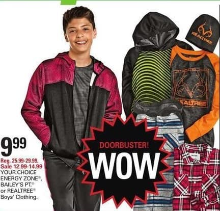 Shopko Black Friday: Your Choice Energy Zone, Bailey's PT or Realtree Boys' Clothing for $9.99