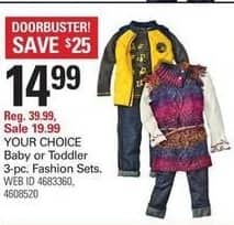 Shopko Black Friday: Baby or Toddler 3-pc. Fashion Sets, Your Choice for $14.99