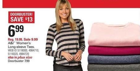 Shopko Black Friday: A&I Women's Long-sleeve Tees for $6.99