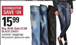 Shopko Black Friday: Black Daisy Juniors' Leggings for $15.99
