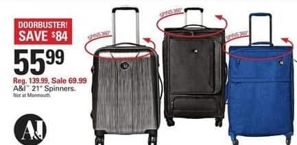 "Shopko Black Friday: A&I 21"" Spinners Luggage for $55.99"