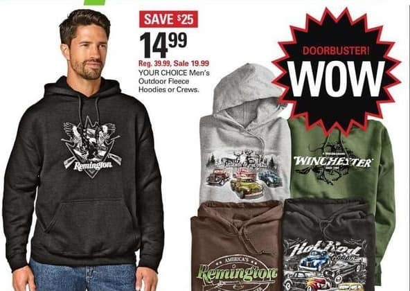 Shopko Black Friday: Your Choice Men's Outdoor Fleece Hoodies or Crews for $14.99