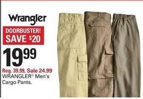 Shopko Black Friday: Wrangler Men's Cargo Pants for $19.99