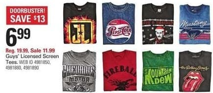 Shopko Black Friday: Guys Licensed Screen Tees for $6.99