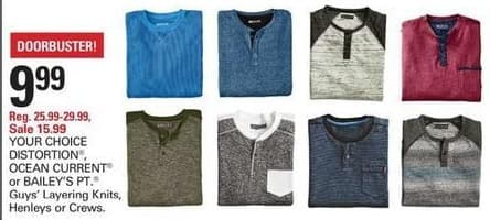 Shopko Black Friday: Your Choice Distorsion, Ocean Current or Bailey's Cuys' Layering Knits Henleys or Crews for $9.99