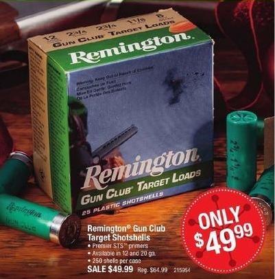 Cabelas Black Friday: Remington Gun Club Target Shotgun Shells for $49.99