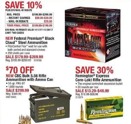 Cabelas Black Friday: Federal Premium Black Cloud Steel Ammunition for $179.99 - $269.99 after $70.00 rebate