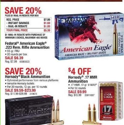 Cabelas Black Friday: Federal American Eagle .223 Rem. Rifle Ammunition for $6.39 after $1.00 rebate