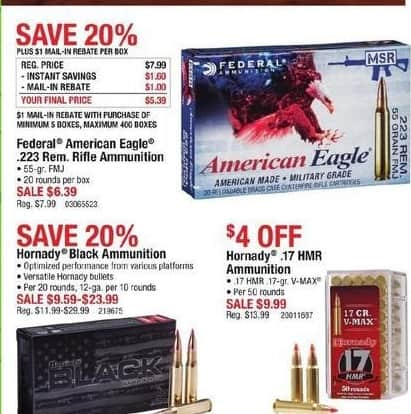 Cabelas Black Friday: Hornady Black Ammunition for $9.59 - $23.99
