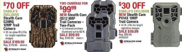 Cabelas Black Friday: Stealth Cam QS12 8MP Trail Camera Two-Pack for $99.99