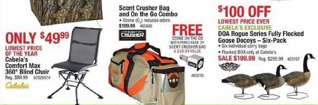 Cabelas Black Friday: Scent Crusher Bag and On the Go Combo + Free Ozone On The Go With Purchase of Scent Crusher Bag for $199.99