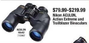 Cabelas Black Friday: Nikon Aculon, Action Extreme and Trailblazer Binoculars for $79.99 - $219.99