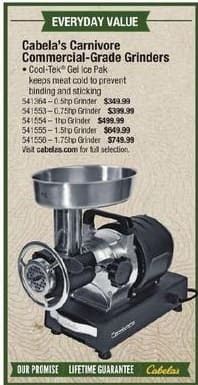 Cabelas Black Friday: Cabela's Commercial-Grade Grinders 0.75hp Grinder for $399.99