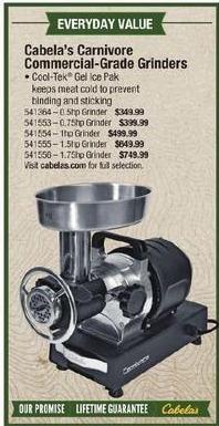 Cabelas Black Friday: Cabela's Commercial-Grade Grinders 1hp Grinder for $499.99