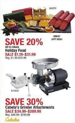Cabelas Black Friday: All-In-Stock Holiday Food for $1.19 - $31.99