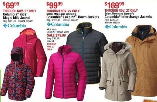 Cabelas Black Friday: Columbia Lake 22 Down Jackets for $79.99