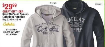 Cabelas Black Friday: Select Men's and Women's Cabela's Hoodies for $29.99