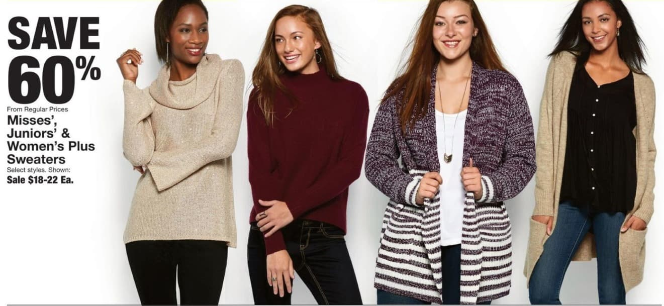 Fred Meyer Black Friday: Misses', Juniors' & Women's Plus Sweaters - 60% Off