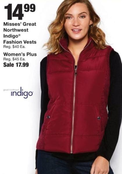 Fred Meyer Black Friday: Misses' Great Northwest Indigo Fashion Vests for $14.99