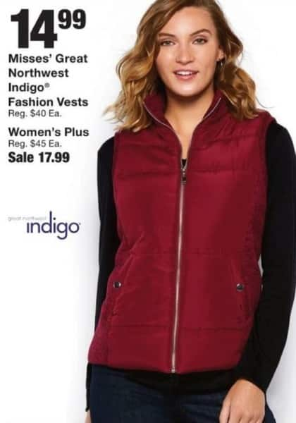 Fred Meyer Black Friday: Women's Plus Great Northwest Indigo Fashion Vest for $17.99