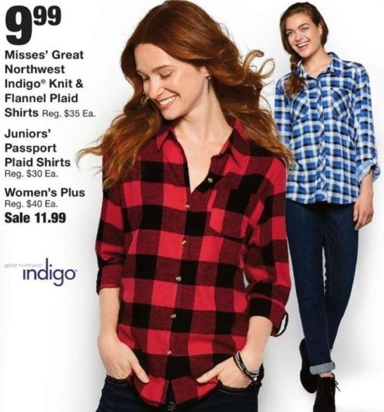 Fred Meyer Black Friday: Great Northwest Indigo Misses' Knit & Flannel Plaid Shirts for $9.99