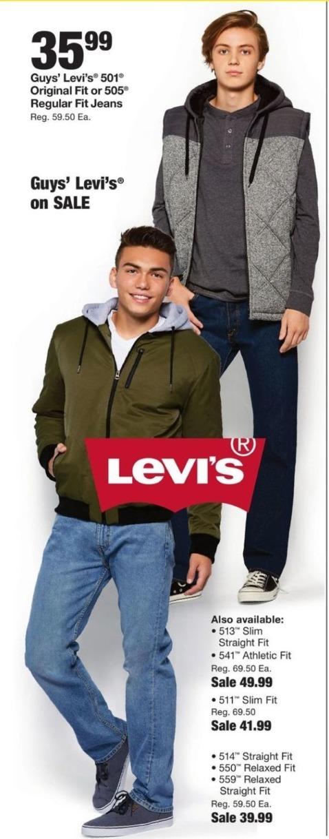 Fred Meyer Black Friday: Levi's 501 Original Fit, 505 Regular Fit Jeans for $35.99