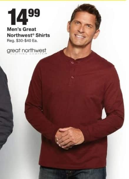 Fred Meyer Black Friday: Men's Great  Northwest Shirts for $14.99