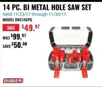 ACME Tools Black Friday: 14 PC. BI Metal Hole Saw Set for $49.97