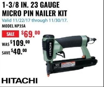 ACME Tools Black Friday: 1-3/8 IN. 23 Gauge Micro Pin Nailer Kit for $69.00