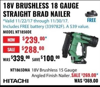 ACME Tools Black Friday: 18V Brushless 18 Gauge Straight Brad Nailer for $239.00