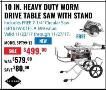 ACME Tools Black Friday: 10 IN. Heavy Duty Worm Drive Table Saw with Stand for $499.00