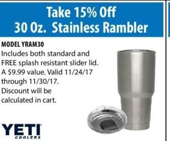 ACME Tools Black Friday: Yeti 30 Oz. Stainless Rambler - 15% Off