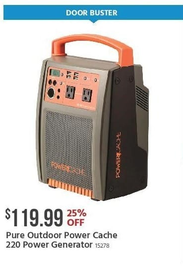 Monoprice Black Friday: Pure Outdoor Power Cache 220 Power Generator for $119.99