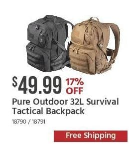 Monoprice Black Friday: Pure Outdoor 32L Survival Tactical Backpack for $49.99