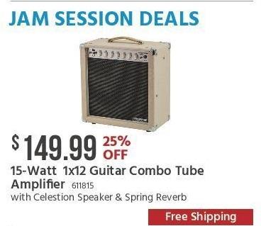 Monoprice Black Friday: 15-Watt 1x12 Guitar Combo Tube Amplifier with Celestion Speaker & Spring Reverb for $149.99