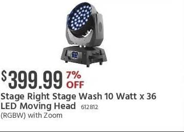 Monoprice Black Friday: Stage Right Stage Wash 10 Watt x 36 LED Moving Head for $399.99