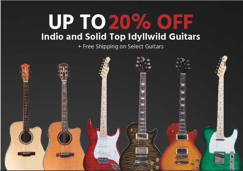 Monoprice Black Friday: Up To 20% Off Indio and Solid Top Idyllwild Guitars + Free Shipping on Select Guitars - 20% Off