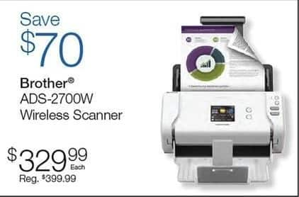 Quill Cyber Monday: Brother ADS-2700W Wireless Scanner for $329.99