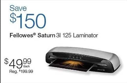 Quill Cyber Monday: Fellowes Saturn 3I 125 Laminator for $49.99
