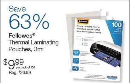 Quill Cyber Monday: Fellowes Thermal Laminating Pouches, 3mil for $9.99